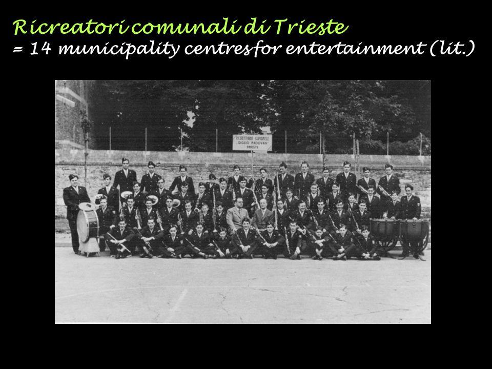 Ricreatori comunali di Trieste = 14 municipality centres for entertainment (lit.)