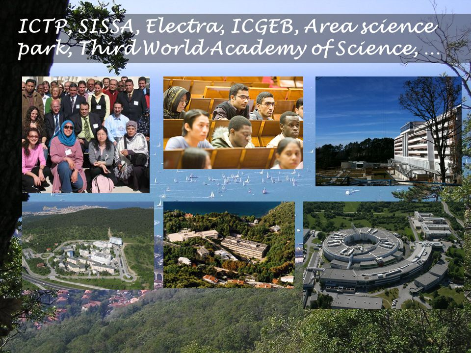 ICTP, SISSA, Electra, ICGEB, Area science park, Third World Academy of Science, …