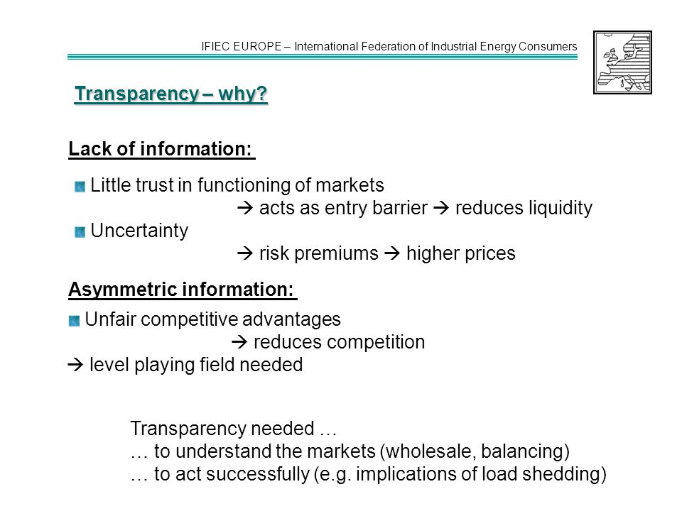 IFIEC EUROPE – International Federation of Industrial Energy Consumers Transparency – why.