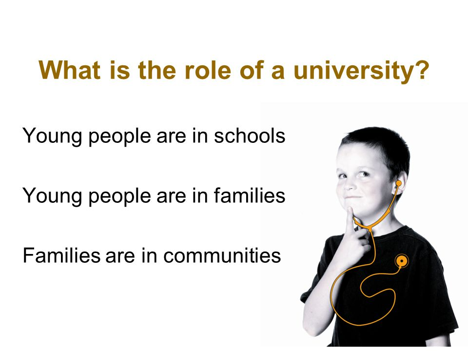 What is the role of a university? Young people are in schools Young people are in families Families are in communities
