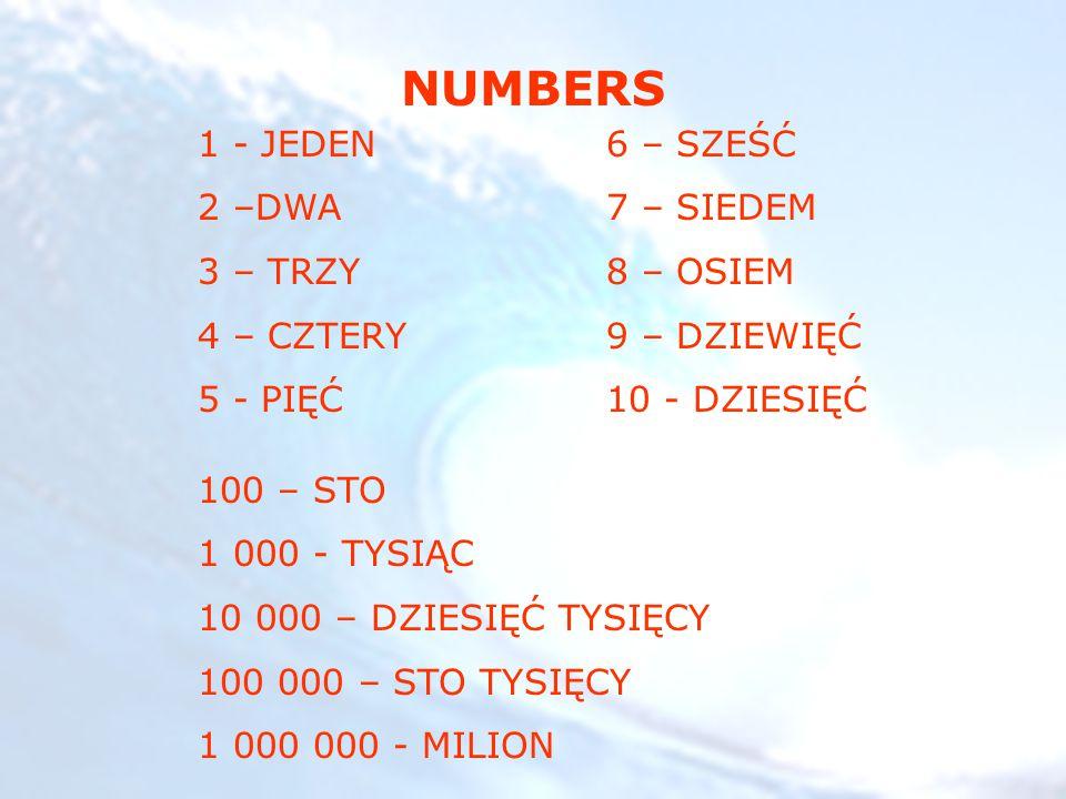 NUMBERS 1 - JEDEN 2 –DWA 3 – TRZY 4 – CZTERY 5 - PIĘĆ 6 – SZEŚĆ 7 – SIEDEM 8 – OSIEM 9 – DZIEWIĘĆ 10 - DZIESIĘĆ 100 – STO 1 000 - TYSIĄC 10 000 – DZIESIĘĆ TYSIĘCY 100 000 – STO TYSIĘCY 1 000 000 - MILION