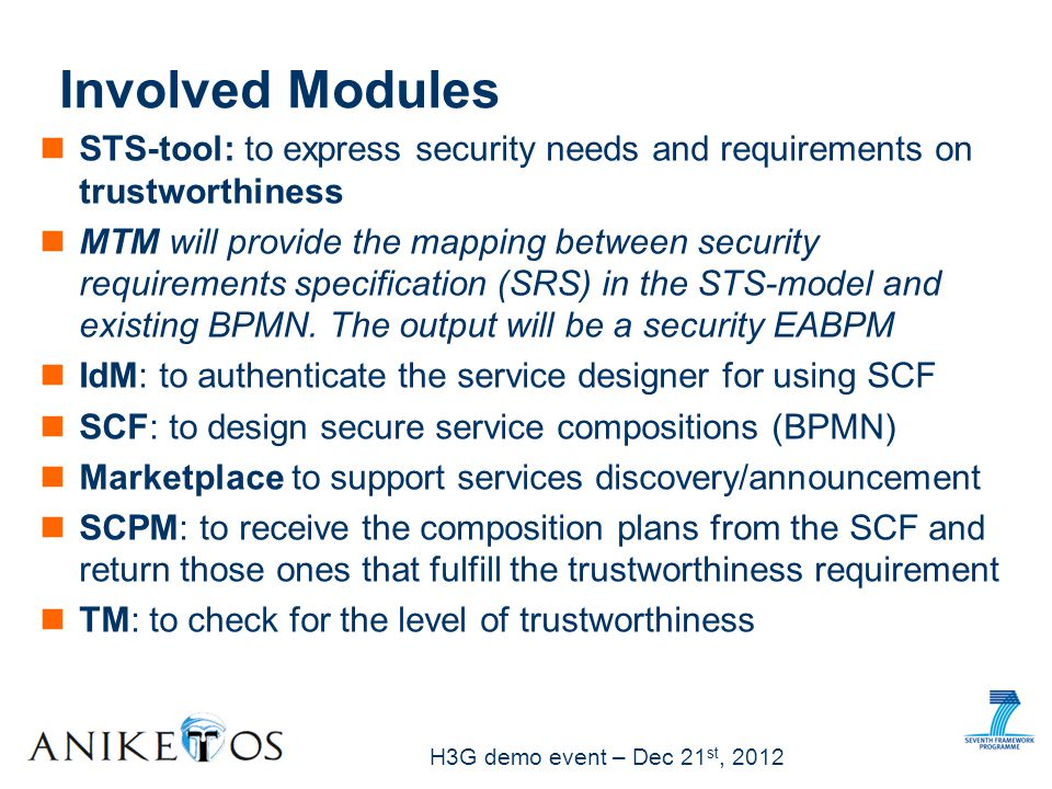 H3G demo event – Dec 21 st, 2012 Involved Modules STS-tool: to express security needs and requirements on trustworthiness MTM will provide the mapping between security requirements specification (SRS) in the STS-model and existing BPMN.