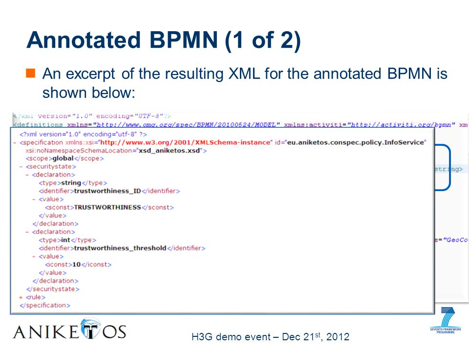 H3G demo event – Dec 21 st, 2012 An excerpt of the resulting XML for the annotated BPMN is shown below: Annotated BPMN (1 of 2)