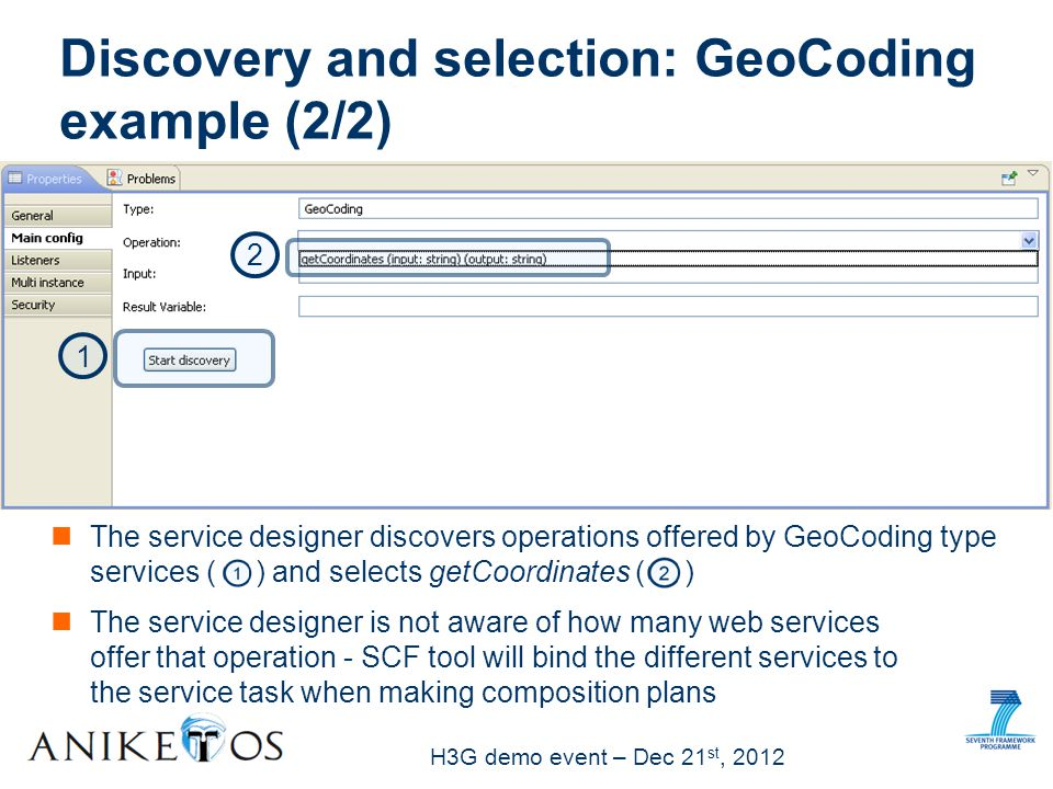 H3G demo event – Dec 21 st, 2012 and selects getCoordinates ( ) Discovery and selection: GeoCoding example (2/2) The service designer discovers operations offered by GeoCoding type services ( ) 1 2 The service designer is not aware of how many web services offer that operation - SCF tool will bind the different services to the service task when making composition plans