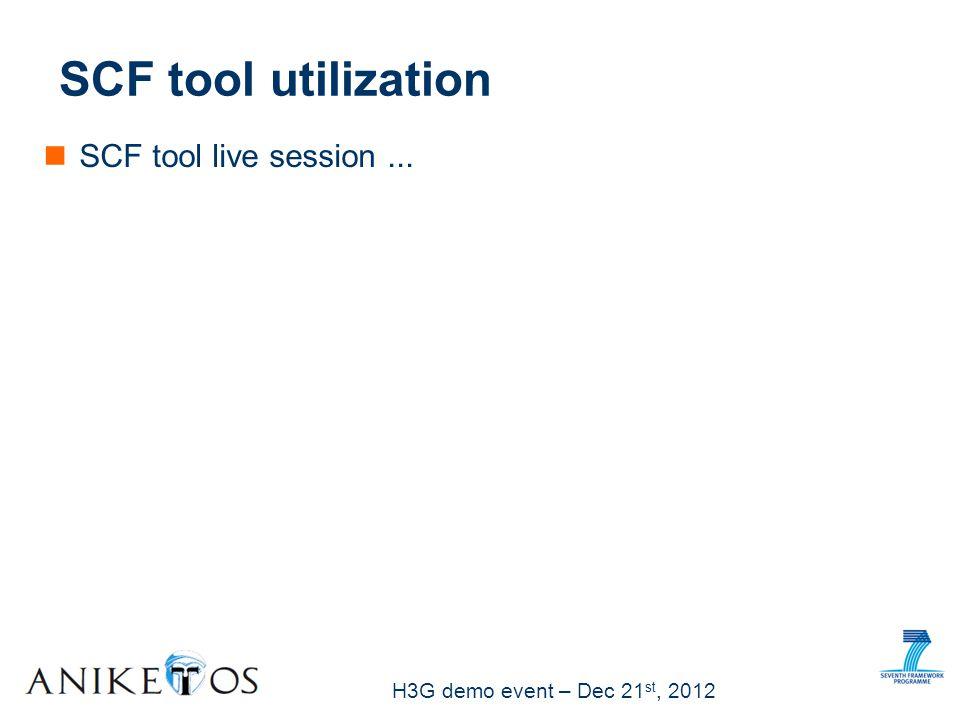 H3G demo event – Dec 21 st, 2012 SCF tool utilization SCF tool live session...