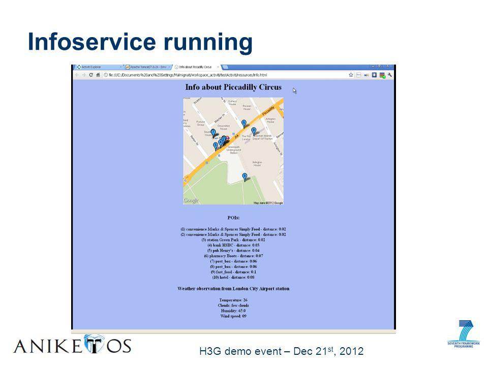 H3G demo event – Dec 21 st, 2012 Infoservice running