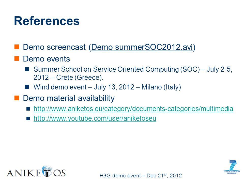 H3G demo event – Dec 21 st, 2012 Demo screencast (Demo summerSOC2012.avi) Demo events Summer School on Service Oriented Computing (SOC) – July 2-5, 2012 – Crete (Greece).