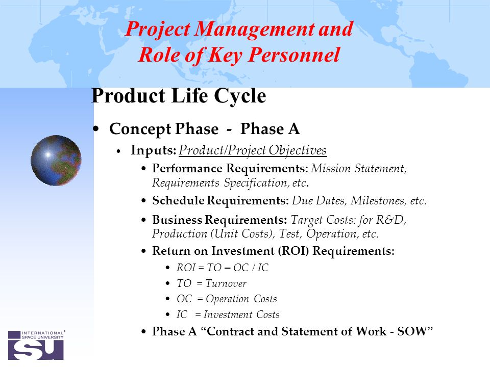 Product Life Cycle Concept Phase - Phase A Inputs: Product/Project Objectives Performance Requirements: Mission Statement, Requirements Specification, etc.