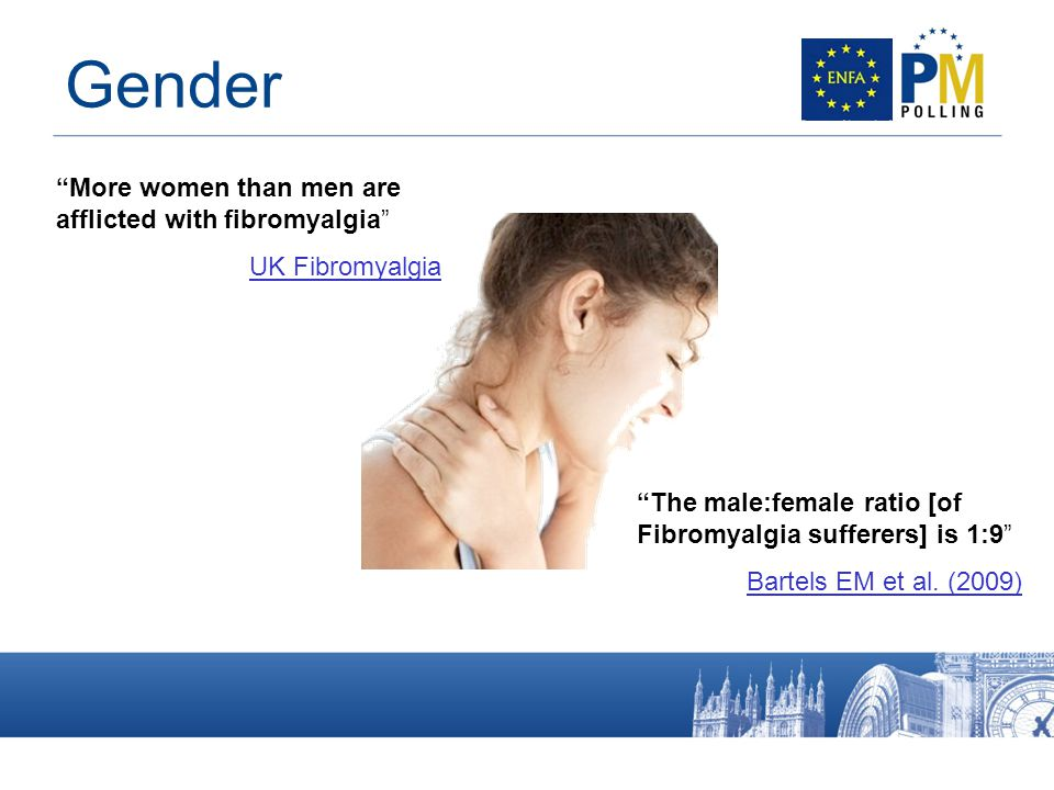 More women than men are afflicted with fibromyalgia UK Fibromyalgia The male:female ratio [of Fibromyalgia sufferers] is 1:9 Bartels EM et al.