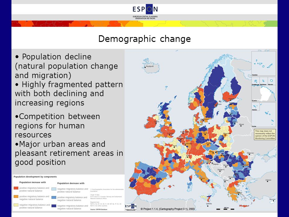 Demographic change Population decline (natural population change and migration) Highly fragmented pattern with both declining and increasing regions C