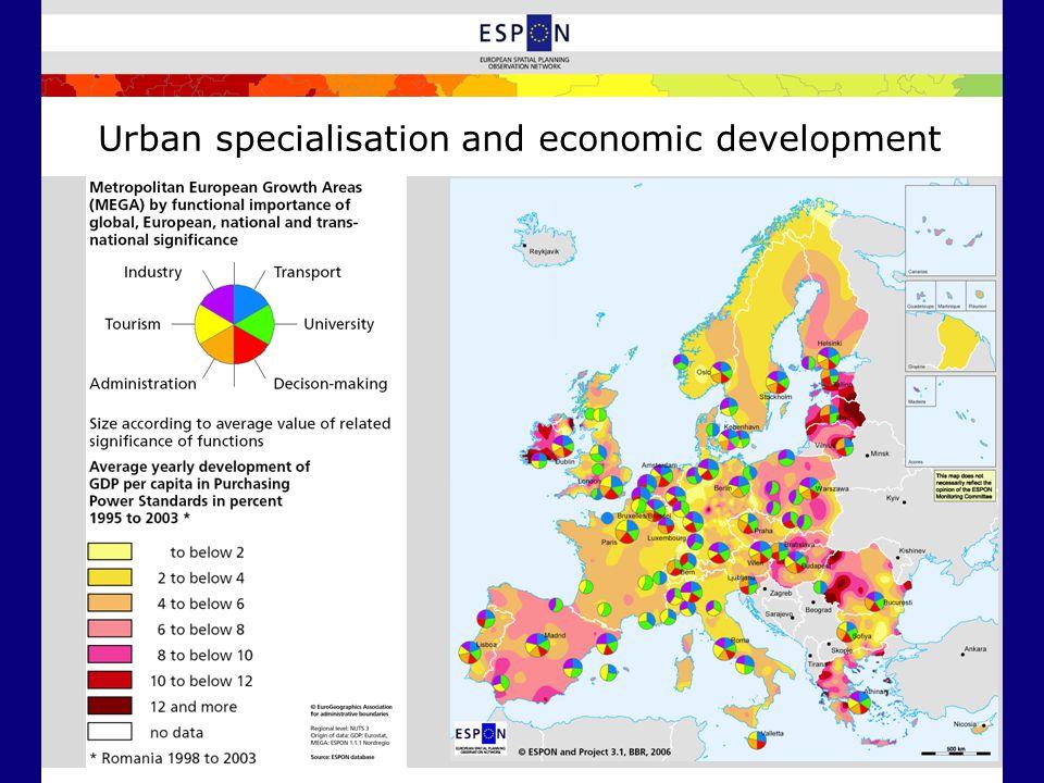 Urban specialisation and economic development