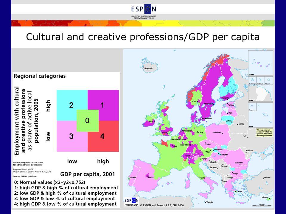 Cultural and creative professions/GDP per capita