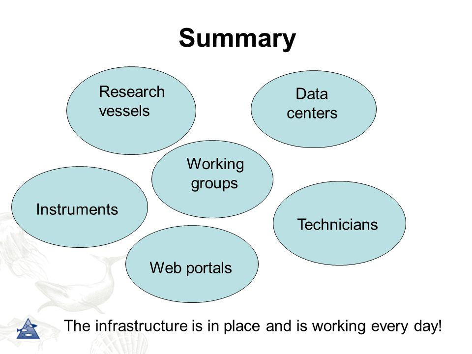 Summary Research vessels Instruments Data centers Web portals Technicians Working groups The infrastructure is in place and is working every day!