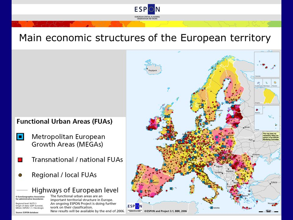 Main economic structures of the European territory