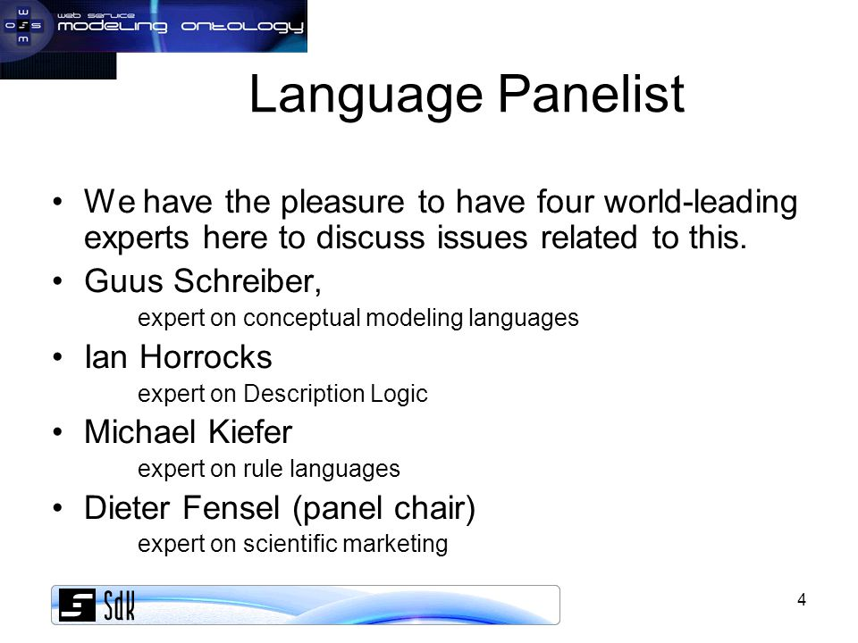 5 Six opinions of Dieter Fensel DL is an interesting subset of 1st order logic HL is an interesting subset of 1st order logic Full 1st order logic is an interesting language Pure logics are cumbersome tools for modeling SWRL is crap A useful rule language for the semantic web must follow a DL-minimalistic approach
