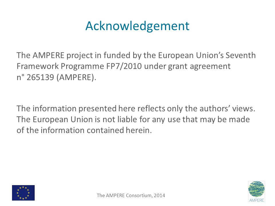 Acknowledgement The AMPERE project in funded by the European Union's Seventh Framework Programme FP7/2010 under grant agreement n° 265139 (AMPERE).