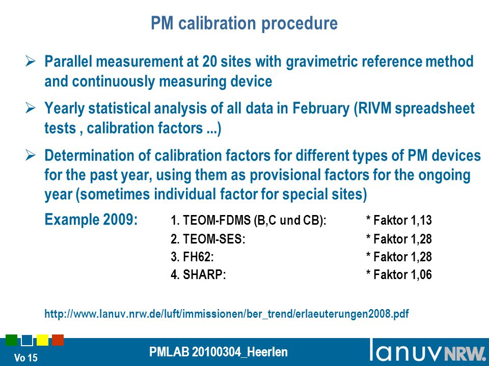 Vo 15 PMLAB 20100304_Heerlen PM calibration procedure  Parallel measurement at 20 sites with gravimetric reference method and continuously measuring device  Yearly statistical analysis of all data in February (RIVM spreadsheet tests, calibration factors...)  Determination of calibration factors for different types of PM devices for the past year, using them as provisional factors for the ongoing year (sometimes individual factor for special sites) Example 2009: 1.