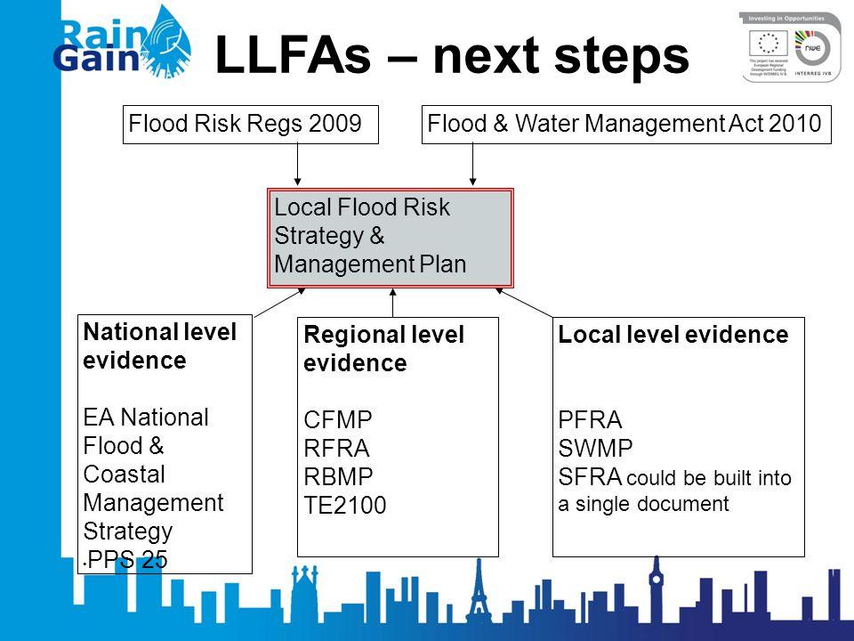 LLFAs – next steps Local Flood Risk Strategy & Management Plan Flood Risk Regs 2009 National level evidence EA National Flood & Coastal Management Str