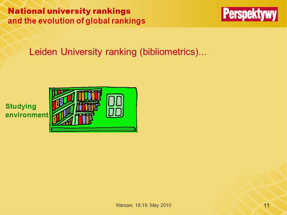 National university rankings and the evolution of global rankings Warsaw, 18-19, May 2010 11 Leiden University ranking (bibliometrics)...