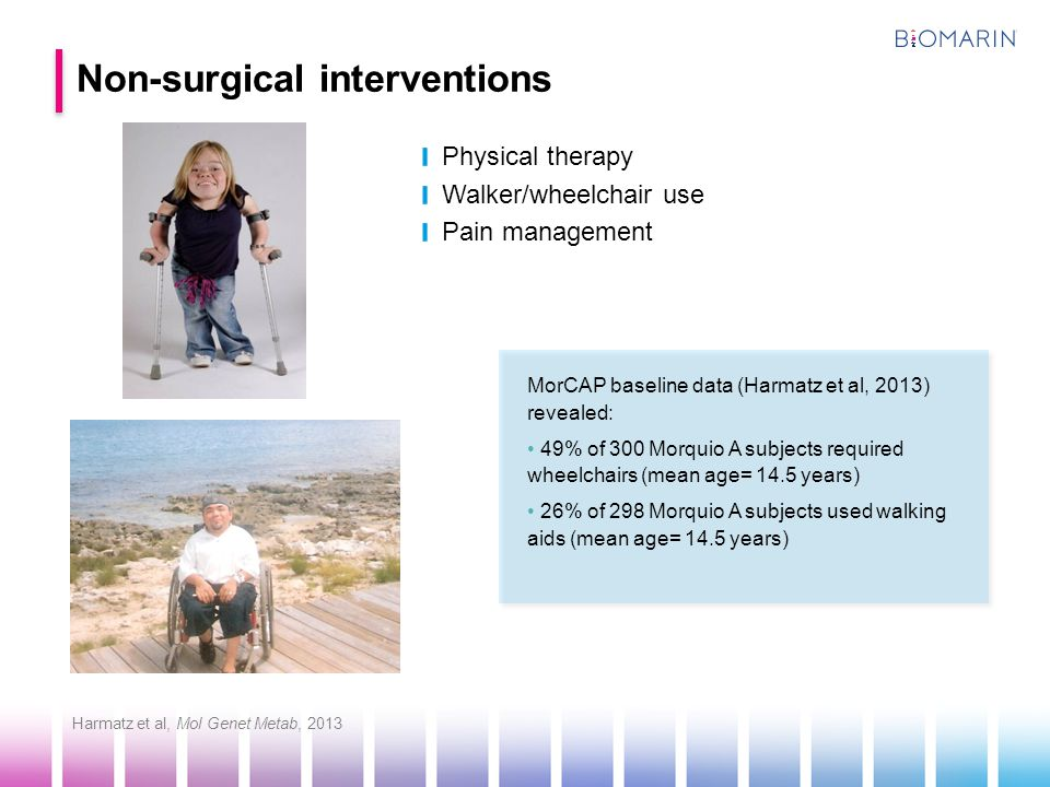 Physical therapy Walker/wheelchair use Pain management Non-surgical interventions MorCAP baseline data (Harmatz et al, 2013) revealed: 49% of 300 Morq