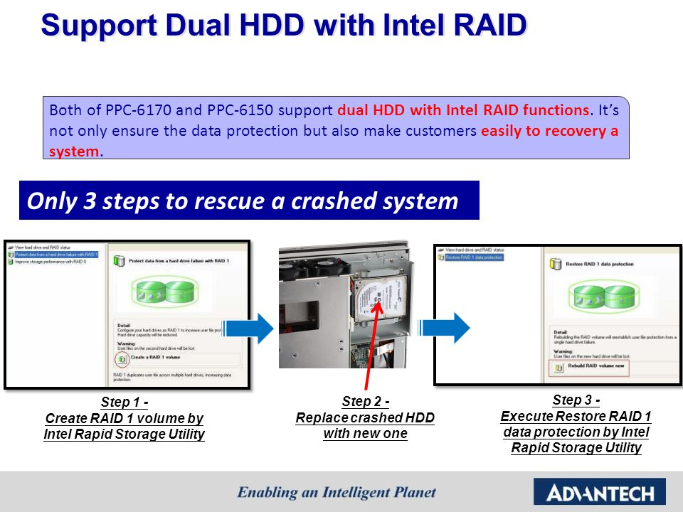 Support Dual HDD with Intel RAID Step 1 - Create RAID 1 volume by Intel Rapid Storage Utility Step 2 - Replace crashed HDD with new one Step 3 - Execu