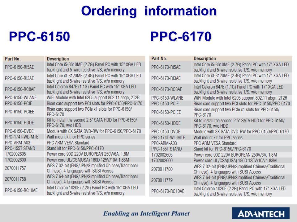 PPC-6150 PPC-6170 Ordering information