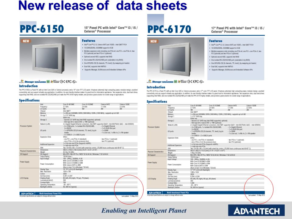 New release of data sheets