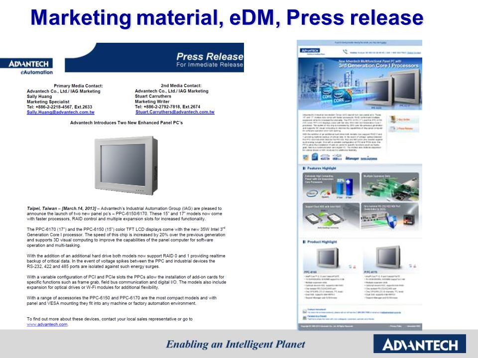Marketing material, eDM, Press release