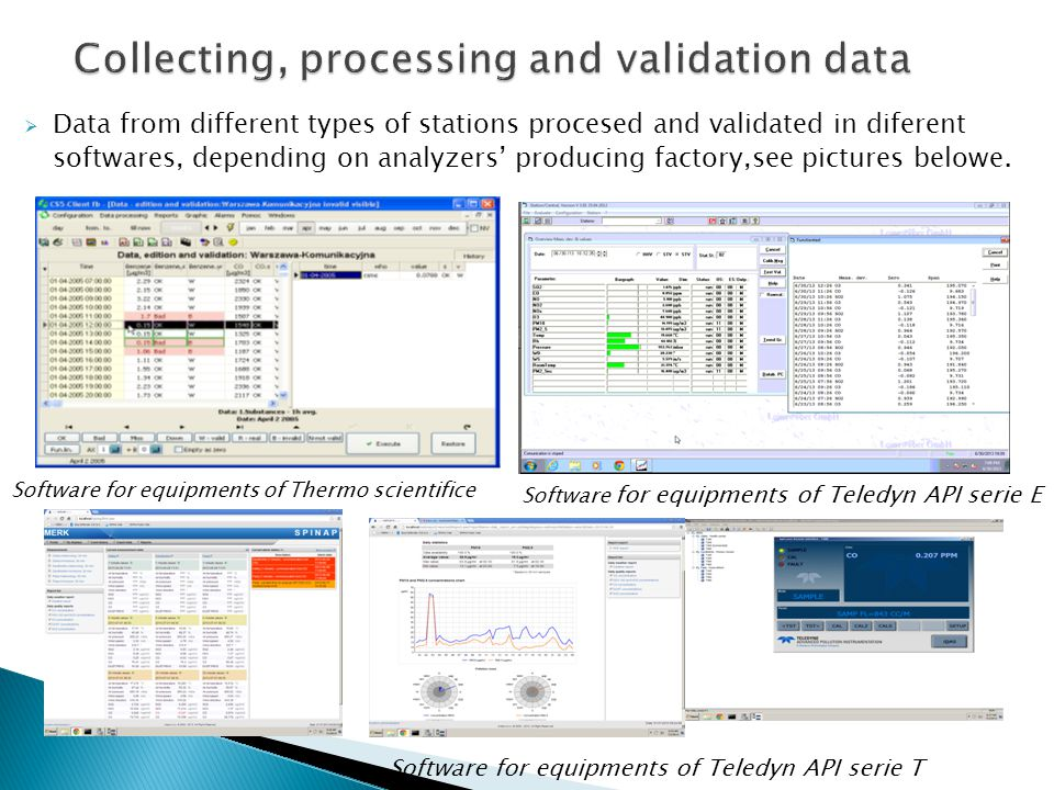 Collecting, processing and validation data  Data from different types of stations procesed and validated in diferent softwares, depending on analyzer