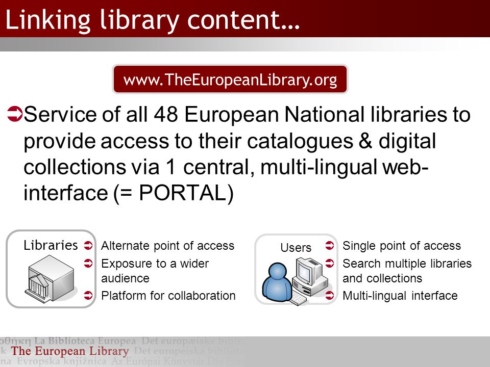 Linking library content…  Service of all 48 European National libraries to provide access to their catalogues & digital collections via 1 central, multi-lingual web- interface (= PORTAL) Libraries Users  Alternate point of access  Exposure to a wider audience  Platform for collaboration  Single point of access  Search multiple libraries and collections  Multi-lingual interface www.TheEuropeanLibrary.org