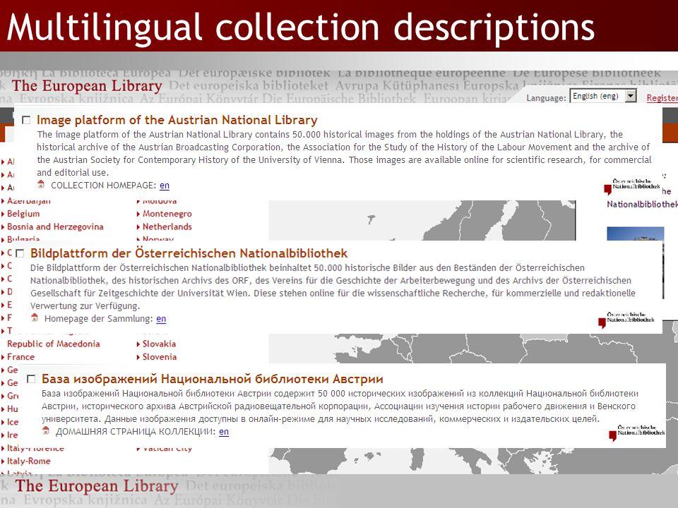 Multilingual collection descriptions