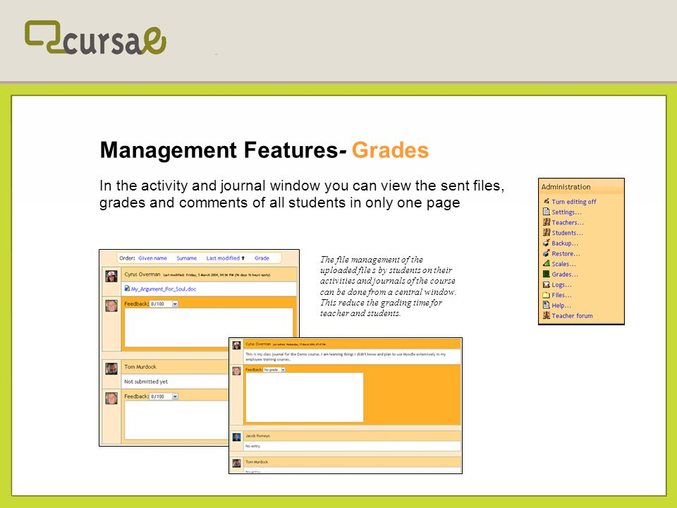 Management Features- Grades In the activity and journal window you can view the sent files, grades and comments of all students in only one page The f