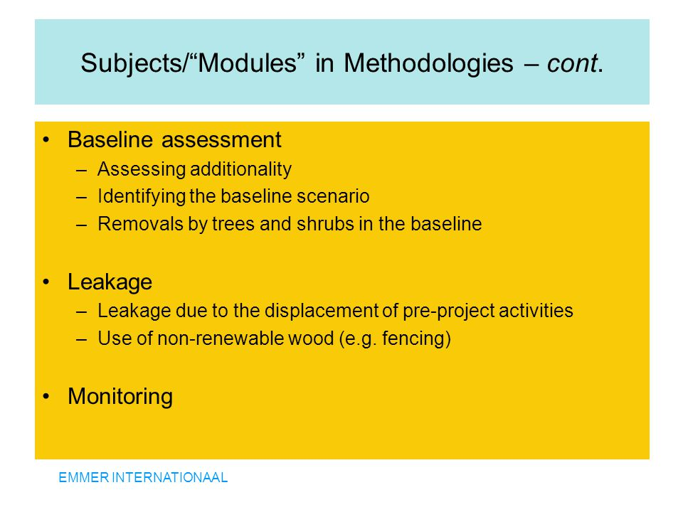 """EMMER INTERNATIONAAL Subjects/""""Modules"""" in Methodologies – cont. Baseline assessment –Assessing additionality –Identifying the baseline scenario –Remo"""