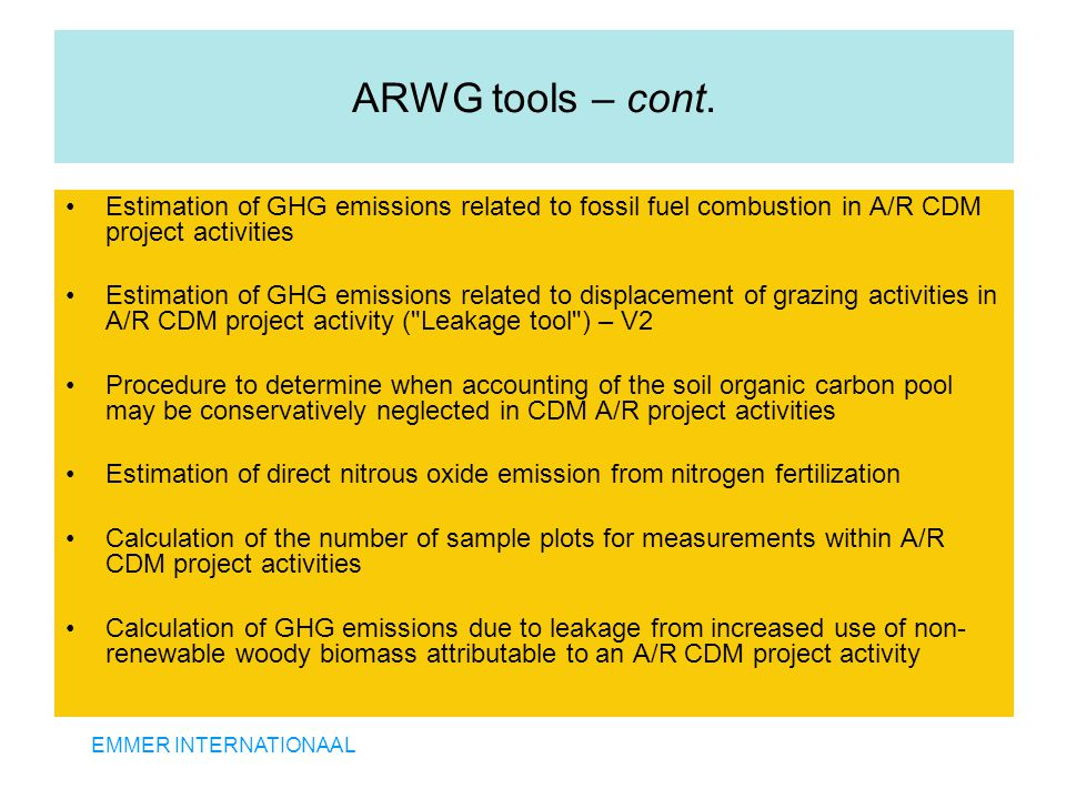 EMMER INTERNATIONAAL ARWG tools – cont.