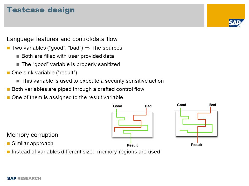 Testcase design Language features and control/data flow Two variables ( good , bad )  The sources Both are filled with user provided data The good variable is properly sanitized One sink variable ( result ) This variable is used to execute a security sensitive action Both variables are piped through a crafted control flow One of them is assigned to the result variable Memory corruption Similar approach Instead of variables different sized memory regions are used