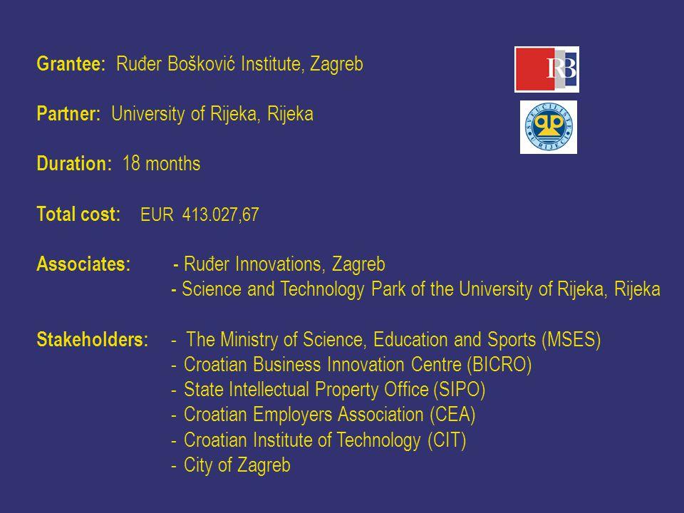 Grantee: Ruđer Bošković Institute, Zagreb Partner: University of Rijeka, Rijeka Duration: 18 months Total cost: EUR 413.027,67 Associates: - Ruđer Inn