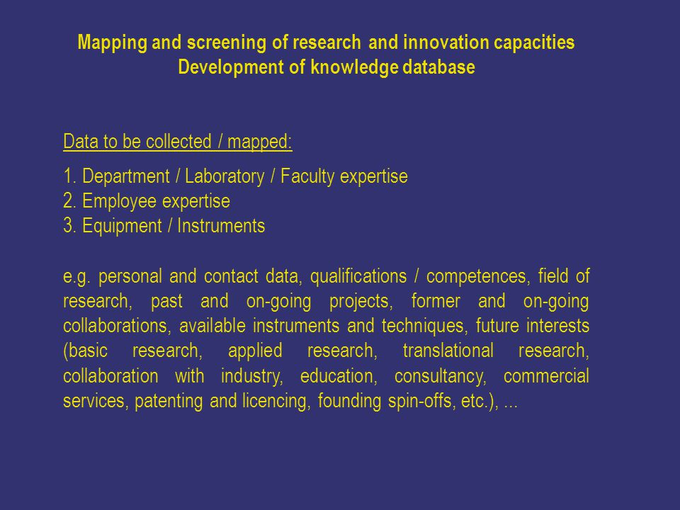 Mapping and screening of research and innovation capacities Development of knowledge database Data to be collected / mapped: 1.