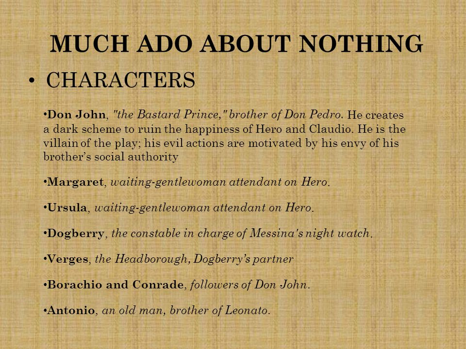MUCH ADO ABOUT NOTHING CHARACTERS Don John,