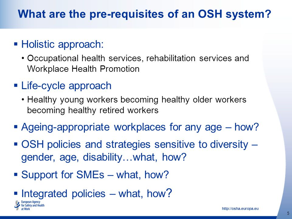 http://osha.europa.eu 5 What are the pre-requisites of an OSH system.