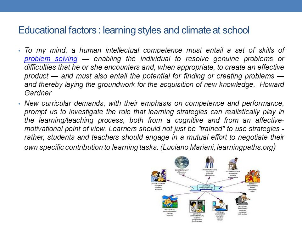Educational factors : learning styles and climate at school To my mind, a human intellectual competence must entail a set of skills of problem solving — enabling the individual to resolve genuine problems or difficulties that he or she encounters and, when appropriate, to create an effective product — and must also entail the potential for finding or creating problems — and thereby laying the groundwork for the acquisition of new knowledge.