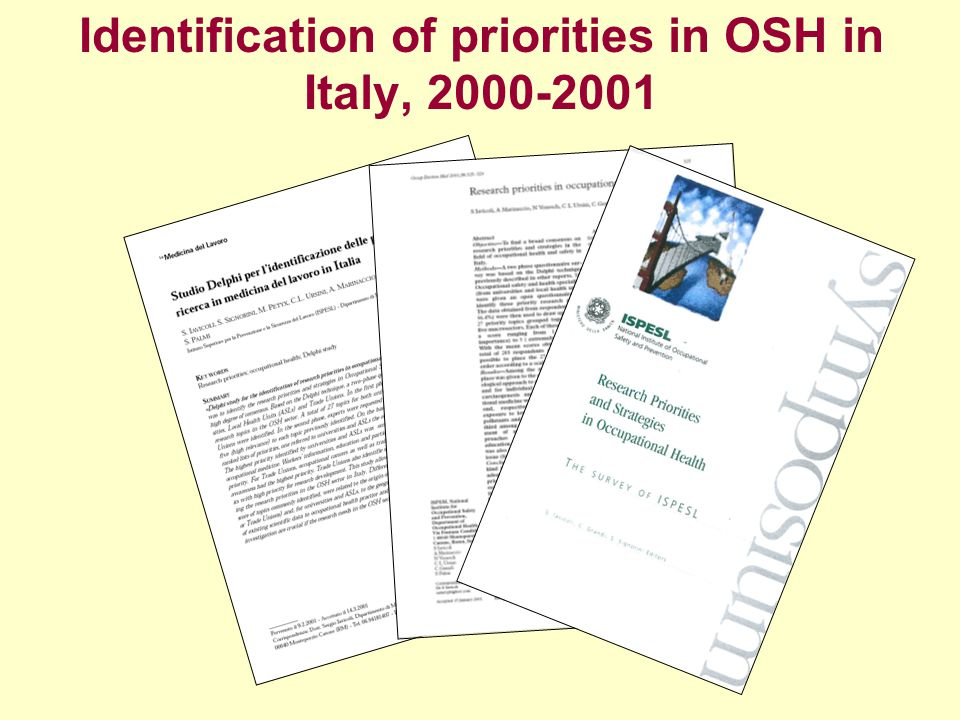 Identification of priorities in OSH in Italy, 2000-2001