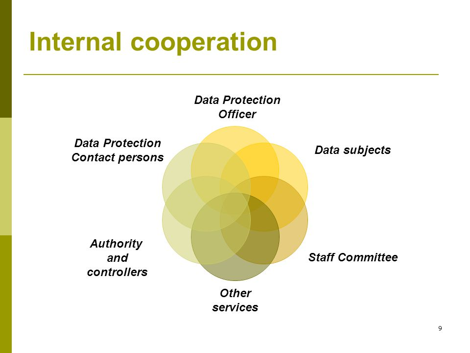 9 Internal cooperation Data Protection Officer Data subjects Staff Committee Other services Authority and controllers Data Protection Contact persons