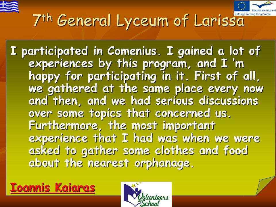 I participated in Comenius.