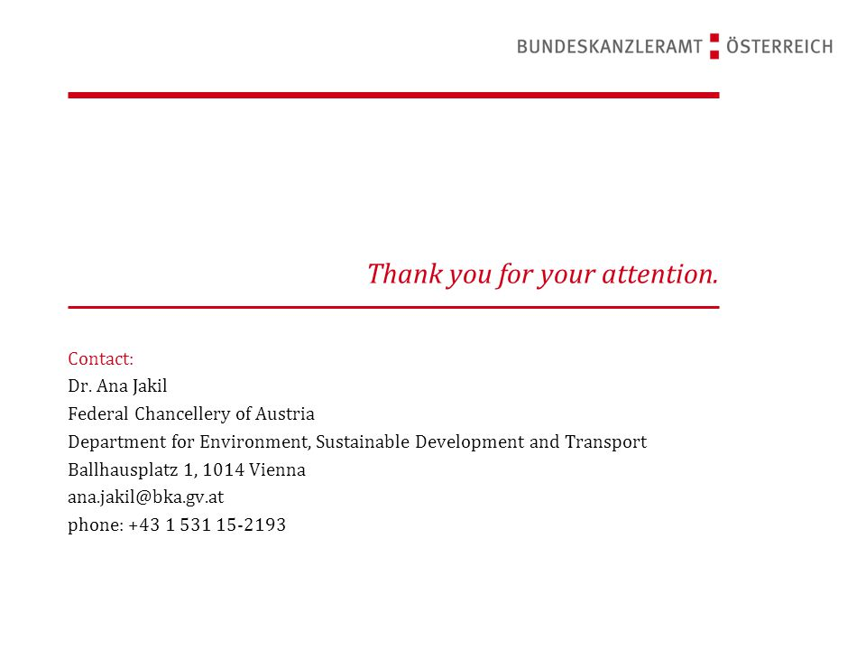 Thank you for your attention. Contact: Dr.