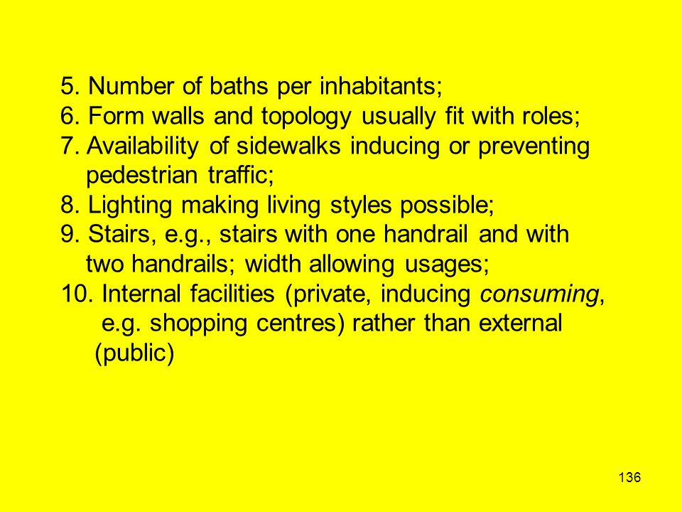 136 5. Number of baths per inhabitants; 6. Form walls and topology usually fit with roles; 7. Availability of sidewalks inducing or preventing pedestr