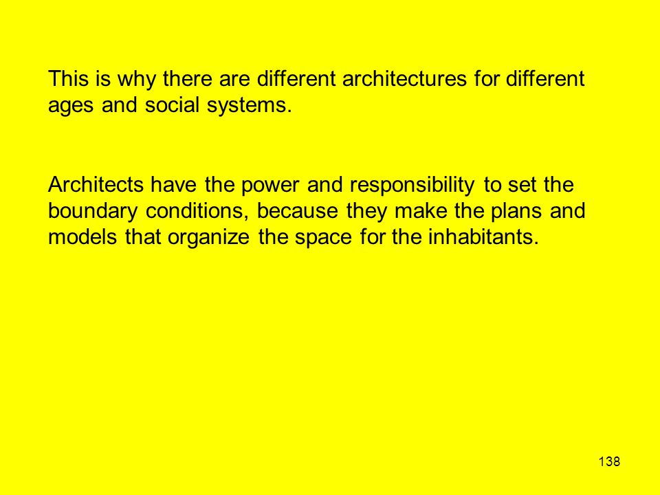 138 This is why there are different architectures for different ages and social systems. Architects have the power and responsibility to set the bound
