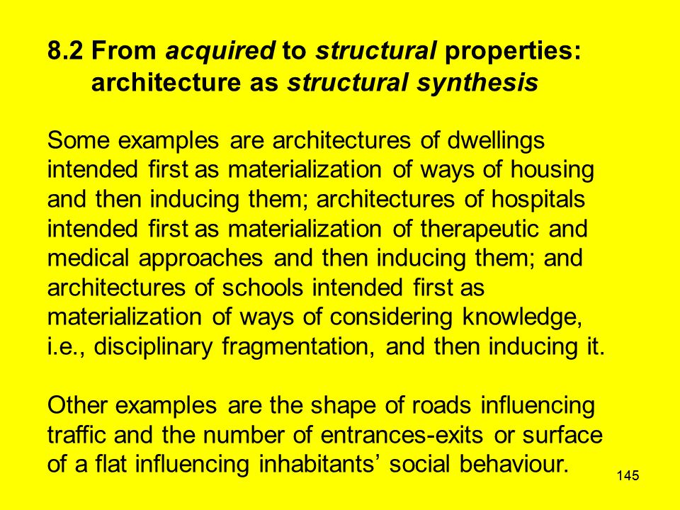 145 8.2 From acquired to structural properties: architecture as structural synthesis Some examples are architectures of dwellings intended first as ma
