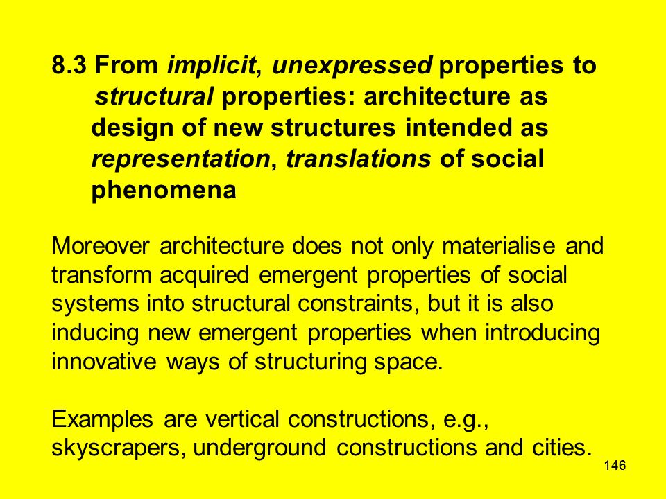 146 8.3 From implicit, unexpressed properties to structural properties: architecture as design of new structures intended as representation, translati