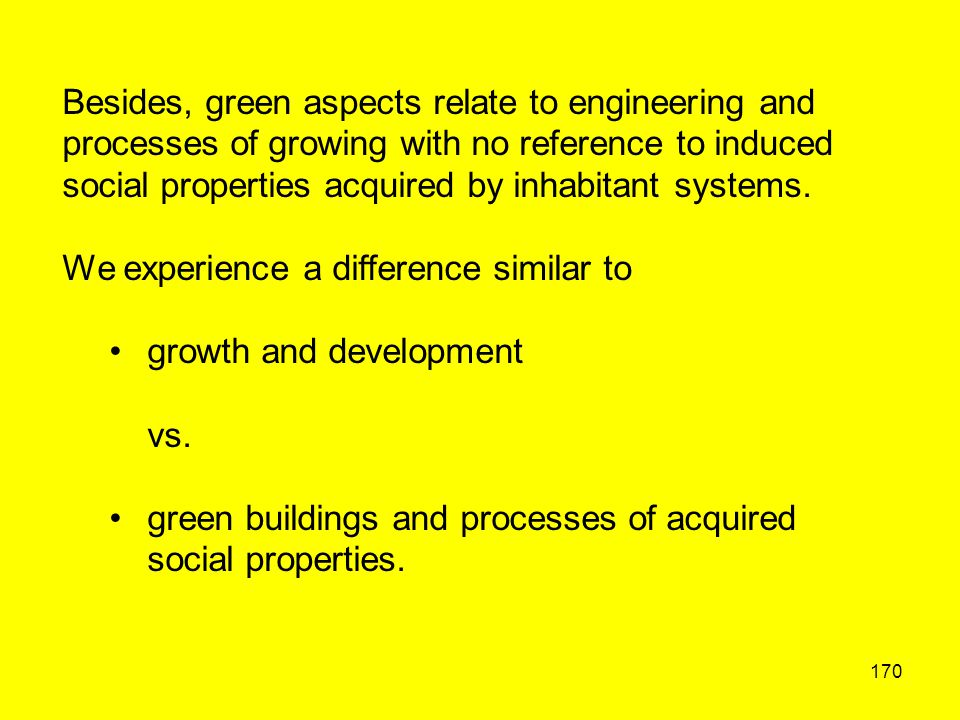 170 Besides, green aspects relate to engineering and processes of growing with no reference to induced social properties acquired by inhabitant system