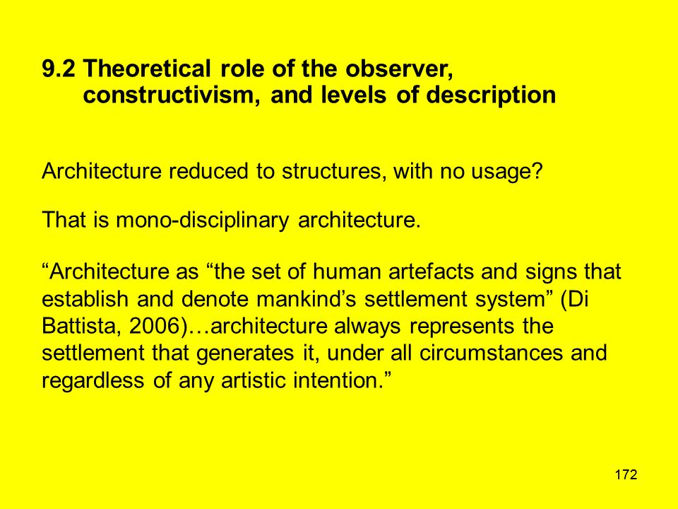 172 9.2 Theoretical role of the observer, constructivism, and levels of description Architecture reduced to structures, with no usage? That is mono-di